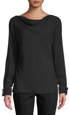 Carolina Herrera Silk Cowl Neck Blouse