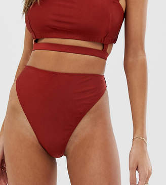 Wolfwhistle Wolf & Whistle Exclusive shiny high leg bikini bottom in red