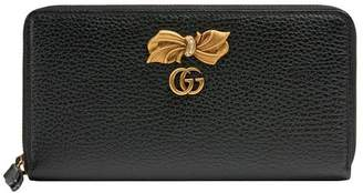 Gucci Leather zip around wallet with bow