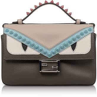 Fendi Double Micro Baguette Coal and Bloody Mary Leather Crossbody Bag
