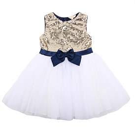 Minihaha Sequin Bodice Dress With Bow