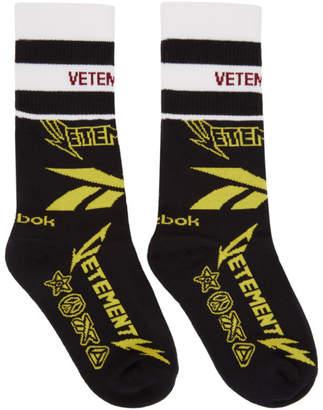 Vetements Black Reebok Edition Metal Logo Socks