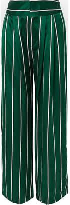 Maggie Marilyn - Love Unconditionally Striped Silk-satin Wide-leg Pants - Jade