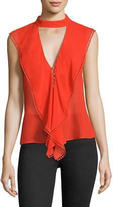 Nicholas Women's Ruffled Silk Georgette Choker Top
