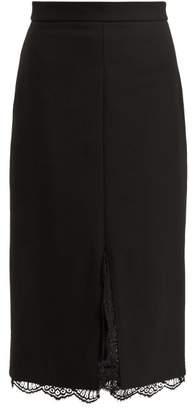 Alexander McQueen Lace Trimmed Wool Blend Pencil Skirt - Womens - Black