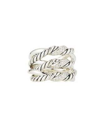 David Yurman Continuance® Silver Three-Row Ring w/ Diamonds