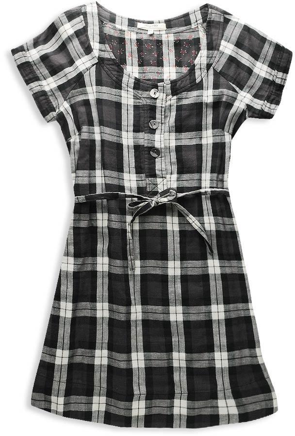 H81 Self-Tie Plaid Dress