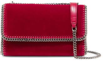 Stella McCartney The Falabella Velvet Shoulder Bag - Crimson