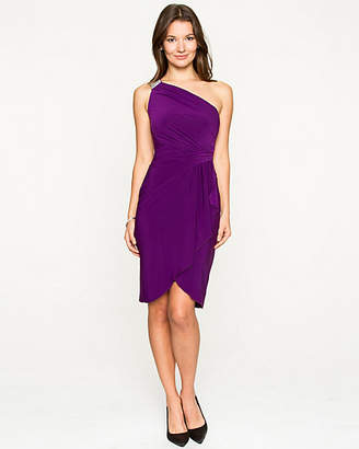 Le Château Knit Wrap Asymmetrical Dress