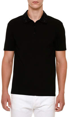 Versace Embroidered-Collar Polo Shirt