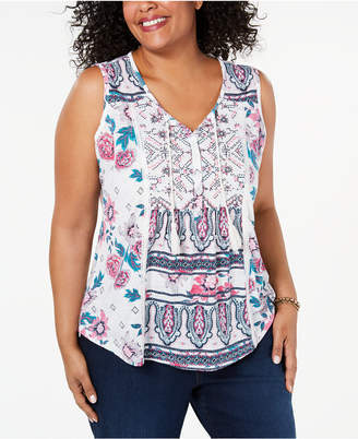 Style&Co. Style & Co Plus Size Printed Tasseled Top