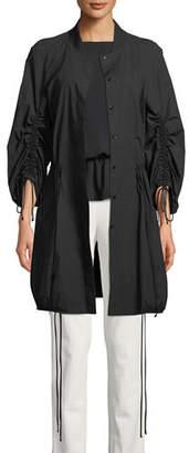 Josie Natori Ruched-Sleeve Tie-Front Topper Jacket
