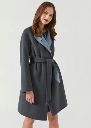 Emporio Armani Two-Tone Wool And Cashmere Coat With Belt