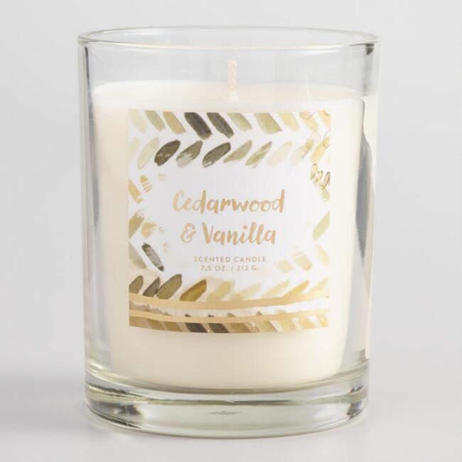 Brown Watercolor Cedar Glass Jar Candle