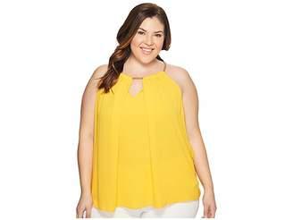 MICHAEL Michael Kors Size Chain Neck Woven Slit Top Women's Clothing