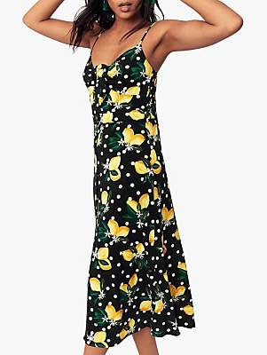 4d9bf431cfcca Oasis Lemon Midi Dress, Black/Multi