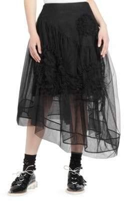 Simone Rocha Ruched Flower Tulle Midi Skirt
