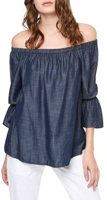 Petite Women's Sanctuary Off The Shoulder Denim Top $89 thestylecure.com