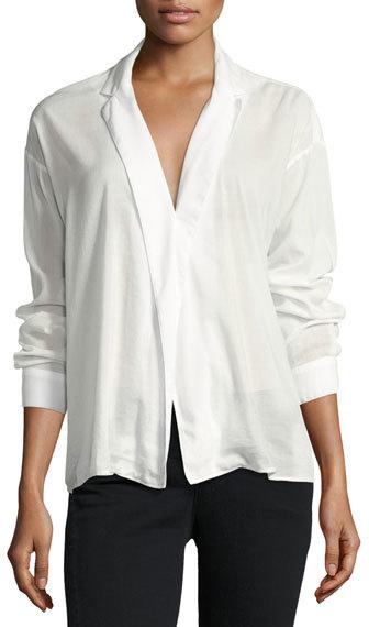 3x13x1 Moxy Cotton-Blend Wrap Shirt, White