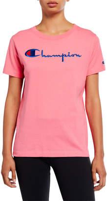 Champion Europe Reverse Weave Big Script Crewneck Short-Sleeve Logo T-Shirt
