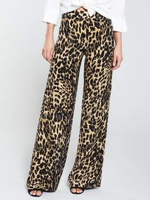 c142a9e02a Very Wide Leg Viscose Twill Trouser - Animal Print