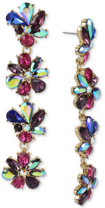 Betsey Johnson Gold-Tone Multi-Stone Flower Linear Drop Earrings