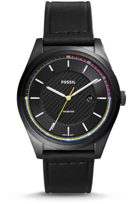 Fossil Mathis Three-Hand Date Black Leather Watch