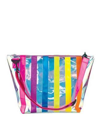 clear Iscream Iridescent Striped Overnight Bag