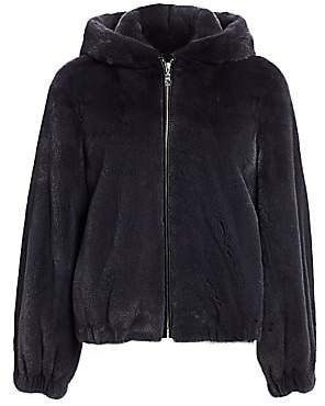 The Fur Salon Women's Hooded Mink Fur Bomber Jacket