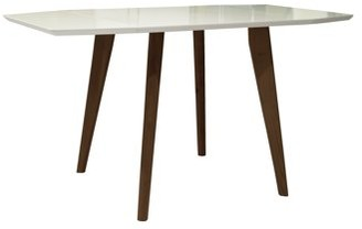 Mid-Century MODERN Incadozo Sinclair Extendable Matte White and Teak Finish Indoor Dining Table