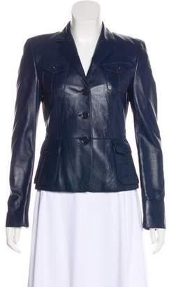 Akris Punto Notch-Lapel Leather Jacket