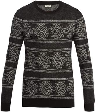 Saint Laurent Geometric intarsia-knit sweater