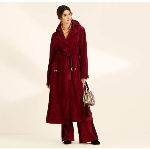 Berry Suede Long Trench Coat