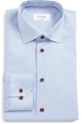 Eton Signature Twill Contemporary Fit Stripe Dress Shirt