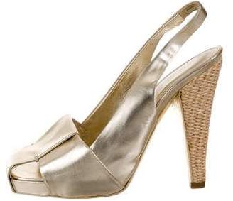 Saint Laurent Metallic Slingback Sandals