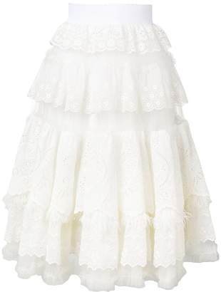 Dolce & Gabbana lace frill flared skirt