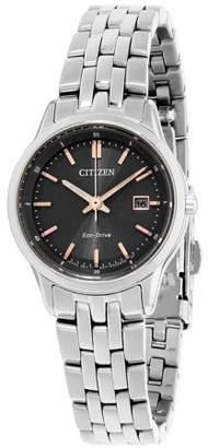 Citizen Sapphire Grey Dial Stainless Steel Ladies Watch EW2400-58H