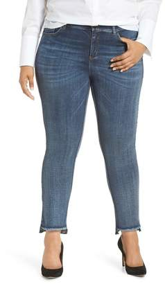 Ashley Graham x Marina Rinaldii Idruro High Rise Slim Leg Raw Hem Jeans (Sky Blue) (Plus Size)