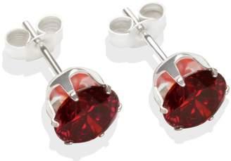 Sterling Silver Garnet Coloured CZ Stud Earrings