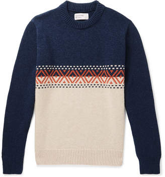 Universal Works Colour-Block Wool-Blend Sweater