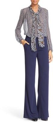 Diane von Furstenberg 'Fernanda' Print Silk Tie Neck Blouse $268 thestylecure.com