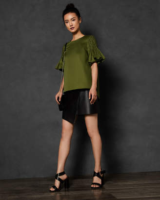 Ted Baker FELLIPA Smocked sleeve cotton top