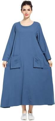 Anysize Spring Summer Dress Linen&cotton Front Pockets Plus Size Dress F132A