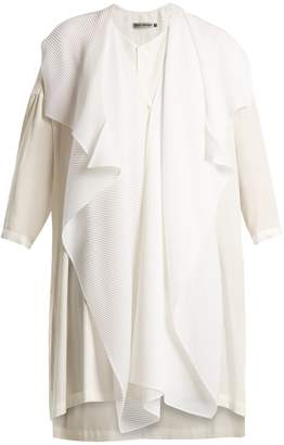 Issey Miyake Pleated-overlay cotton tunic top