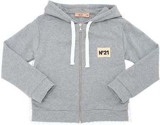 N°21 Hooded Light Cotton Zip-Up Sweatshirt