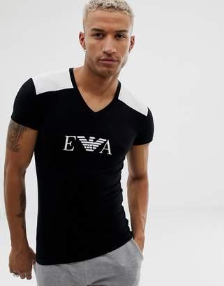 Emporio Armani slim fit v-neck EVA logo lounge t-shirt in black
