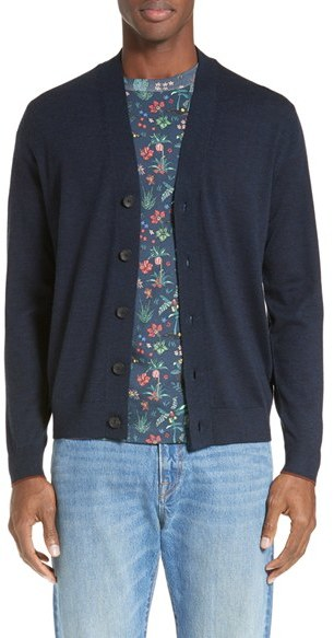 Paul Smith Men's Ps Paul Smith Contrast Cuff Merino Cardigan