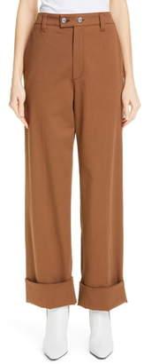 Brunello Cucinelli Tab Front Wide Leg Cuff Pants