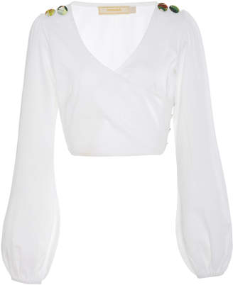 VERANDAH Long-Sleeved Cotton Cropped Top