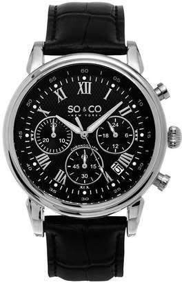 Co SO & NY Mens Monticello Chronograph Leather Strap Dress Quartz Watch J154P82